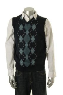 Geoffrey Beene New Navy Argyle V Neck Ribbed Trim Casual Sweater Vest