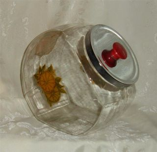 Vintage Large Clear Glass Cookie Jar Canister Metal Lid