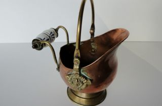 Antique Copper Miniature Ash Coal Bucket Porcelain Brass Handle Made