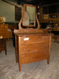 Antique Oak Dresser with Mirror Bedroom Furniture