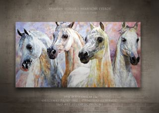 Arabian Dream Horses Original Painting Brilliant Colors Joartcologne