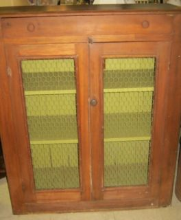 Antique Pie Safe Jelly Cabinet Cupboard Chicken Wire