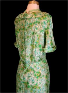 Vintage 50s Green Floral Silk ANDREW ARKIN Cocktail Party Dress M