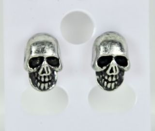 Skull Stud Earrings Heavy Death Black Metal Rock Extrem
