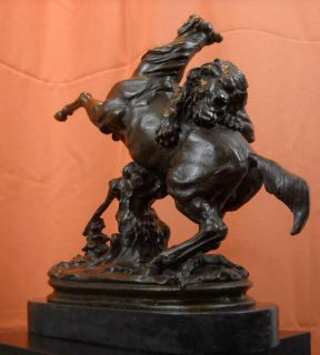 Detailed Antoine Barye Horse Attacked by Lion Bronze Marble Sculpture