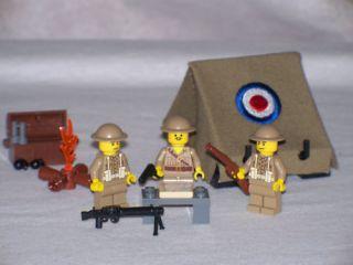 Lego WW2 British Army Base Camp Playset w 3 Minifigs