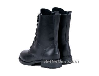 Women Elegant Black Punk Military Army Knight Lace Up Short Boots