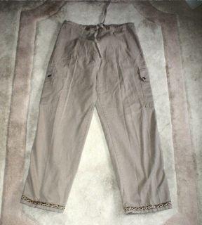 Womens PRANA Drawstring Pants Khaki Cargo Hiking Small