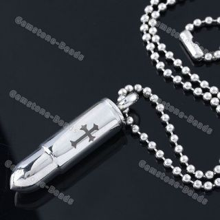 Steel Carved Cross Bullet Pendant Mens Necklace Army Style 19L
