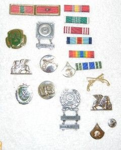 Lot Army Medals Patches Pins Ribbons Military Police Airborne Pistol