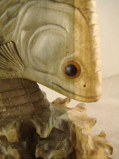 17 Bali Hand Carved Waru Wood Arowan Fish Sculpture