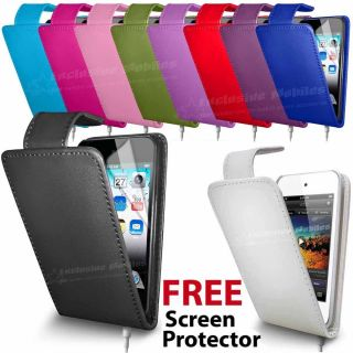 Leather Flip Case Cover Screen Protector for Apple iPod Touch 4th Gen