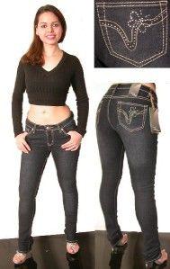 arco iris black skinny jeans rhinestones embroidery