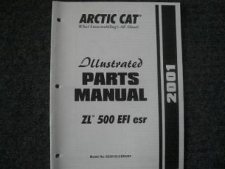 2001 Arctic Cat Snowmobile Parts Manual ZL 500 EFI ESR