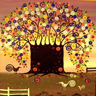 Print of Folk Art Abstract Painting Tree Flowers Modern Whimsical Bird