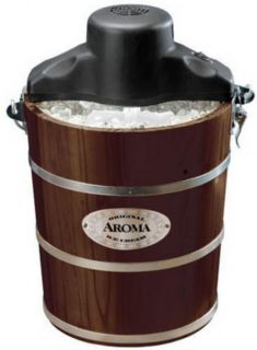 New Aroma 1 Gallon 4 Quart Electric Ice Cream Maker Walnut Finish