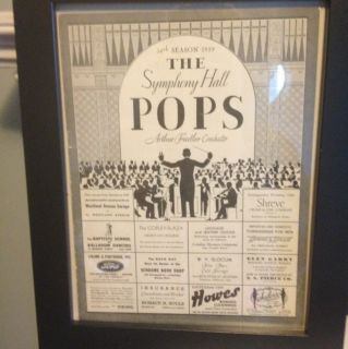 Arthur Fiedler Boston Pops Program 1939 Symphony Hall Boston MASS B W