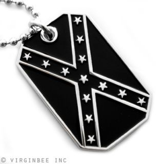 CONFEDERATE STATES AMERICA FLAG B&W DIXIE REBEL PENDANT DOG TAG CHAIN