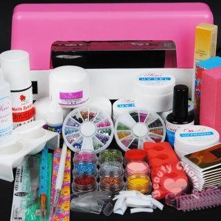 Lamp 9 Color Acrylic Powder Nail Liquid Kit Gel Tools Tips 307