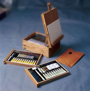 Easel Art Kit Oils Acrylics WC Brushes Pastels Knives More Pro Quality