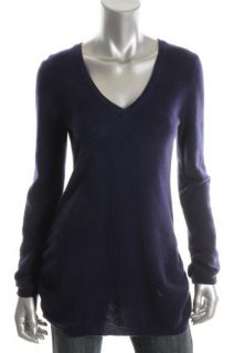 Aqua New Purple Cashmere Ruched Long Sleeves V Neck Tunic Pullover