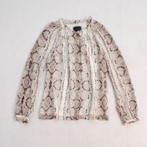 2012 New J Crew Collection Snake Print Silk Blouse $250 4 6 s M ONLY1
