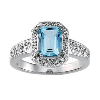 14k White Gold Genuine Aquamarine and Diamond Ring Size 4 5