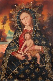 & Child~Cuzco Original Folk Art Oil Painting On Canvas~24x 16