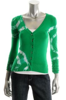 Inc New Exotic Quest Green Tie Dye Sequin Ruched Button Cardigan