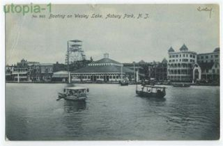 Asbury Park NJ Boating on Wesley Lake Ferris Wheel postcard 1906