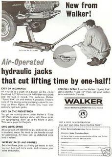 1966 Walker Hydraulic Jacks Print Ad Man w Car Racine