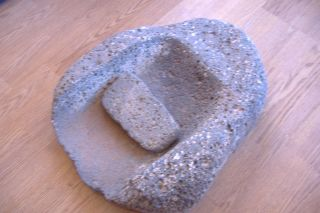 Anasazi Indian Artifact Metate Grinding Stone With Mono Basalt Rock