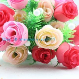 75 Pcs Silk Roses Buds Wedding Bouquet Artificial Flowers Pink F51