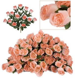 84 Long Stem Rose Buds Wedding Silk Dew Flowers New 6PH