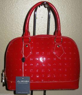 Arcadia Italian Designer Red Monogram Vernis Leather Bowling Purse Bag