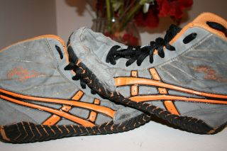 EXTREMELY RARE Asics Orange Grey Rulon Wrestling Shoes Size 7 Vintage