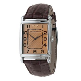 Armani Mens Stainless Steel Case Brown Leather Mineral Glass Watch