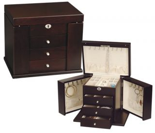 Fully Locking Dark Wooden Jewelry Boxes Chests Armoires