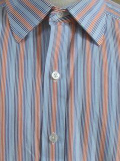 Turnbull ASSER England Blues Orange Stripe Dress Shirt French Cuff New