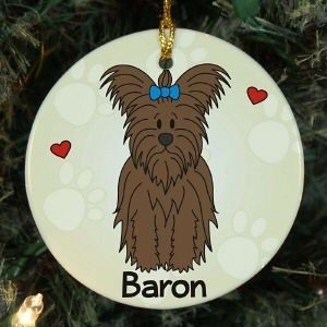 PERSONALIZED LOVED BY MY YORKSHIRE TERRIER PET DOG CHRISTMAS TREE