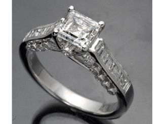 70 Ct Asscher Cut Certified Diamond Engagement 18K White Gold Ring
