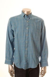 John Ashford New Blue Flannel Long Sleeve Glen Plaid Pocket Button