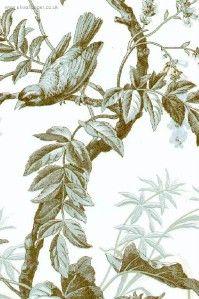 Ashford Toiles Bird Toile Wallpaper Light Blue Brown