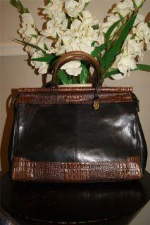 BRAHMIN black brown leather CROC EMBOSSED LEATHER BAG PURSE TOTE