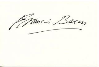 Francis Bacon Authentic Original Signed Card Autographed Irish Painter
