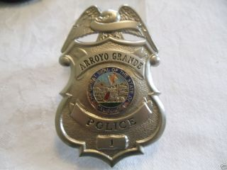Vintage Obsolete Arroyo Grande Police Badge San Luis Obispo California