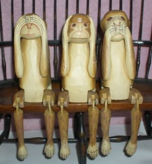 Monkeys See No Evil Hear No Evil Speak No Evil 3 Hand Carved Wood