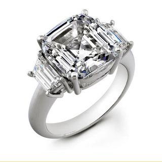 81ct Asscher Cut H VS1 Diamond Wedding Ring EGL USA Beautiful Ring