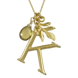 David Aubrey 18kt Gold Plated Initial K Letter Necklace