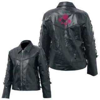 Ladies Black Buffalo Leather Motorcycle Biker Riding Jacket w Roses S